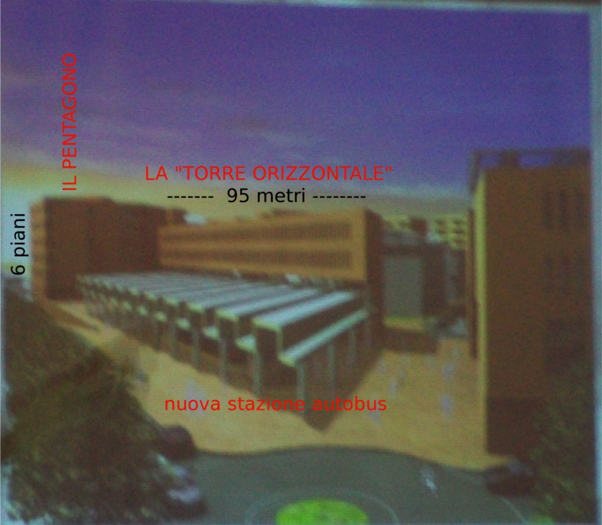 Un treno di due piani lungo 95 metri sospeso su colonne sopra la stazione degli autobus. Volumetrie confermate
